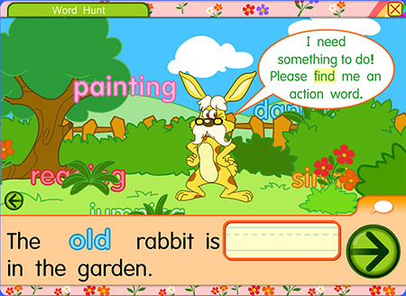 Can you find the words to describe the rabbit?