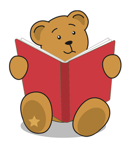 Backpack Bear reading a book