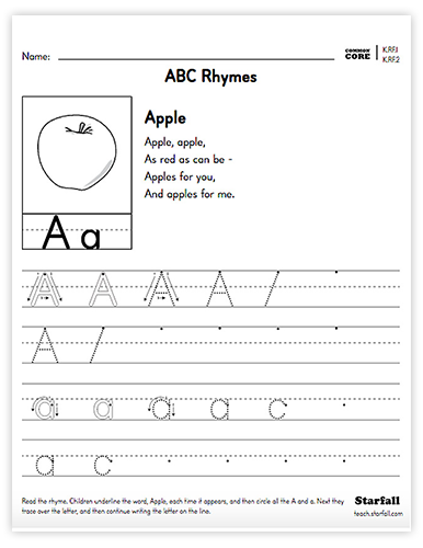 ABC Rhymes worksheet