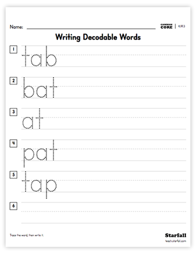 Writing Decodable Words worksheet