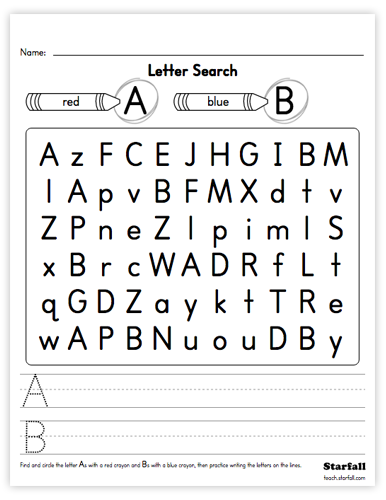 Letter Search worksheet