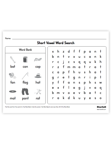 Vowel Search worksheet