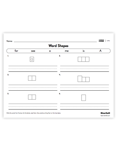 Word Shapes worksheet