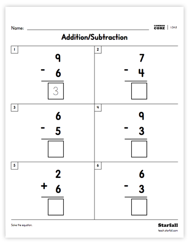 Addition/Subtraction worksheet