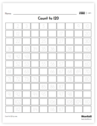 Count to 120 worksheet