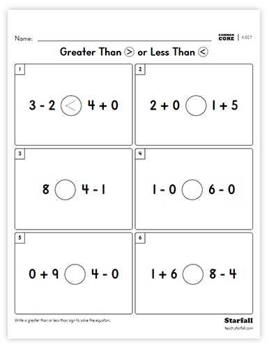 Greater Than or Less Than worksheet