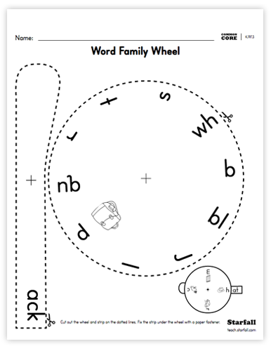 Word Family Wheel worksheet