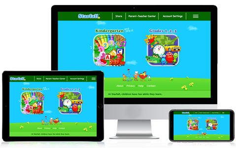 Starfall works on desktop, tablet, and phone