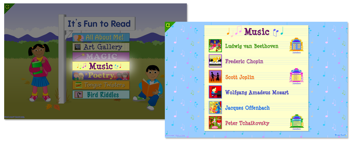 you can enjoy all the music with your child both as a starfall member supporter and on the free website or app